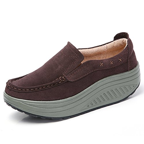 Comfortable Sneakers On Coffee Moccasins Platform STQ Women Slip Loafers Shoes Suede Wedge 2122 qxIpfnwavR