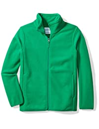 Amazon Essentials Big Boy's Full-Zip Polar Fleece Jacket Outerwear, kelly green, Medium