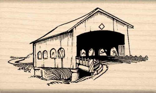 Covered bridge Rubber Stamp - 1-1/2 inches x 2-1/2 inches Stamps by Impression ST 0830a