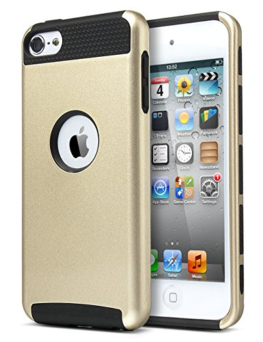 iPod Touch 6th generation case ,ipod 6 Cases,ULAK Dual Layer Slim Protective Hybrid iPod Touch Case Hard PC Cover for Apple iPod touch 5 6th Generation (Champagne Gold + Black)
