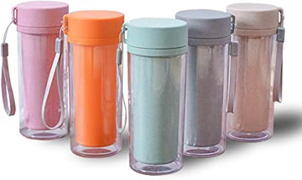 Lightweight /& Leakproof 5 Color for Choice Portable 10 oz // 300ml Plastic Cup w//Lid /& String for Outdoor Sports Hiking LeoN Home Wheat Straw Water Drinking Bottle Wide Mouth Double Wall Clear