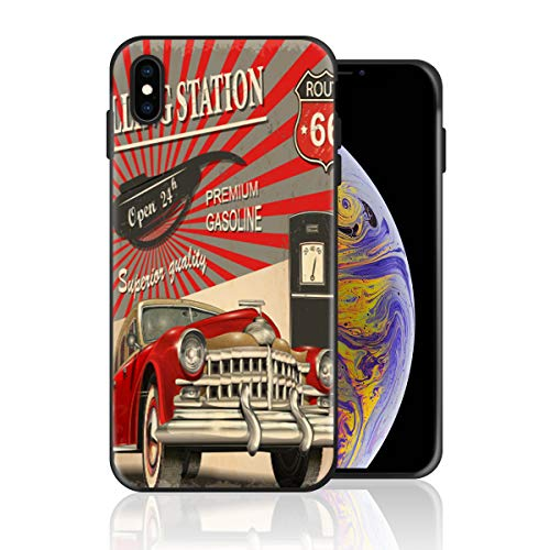 Silicone Case for iPhone XR, Vintage Car Filling Station Route 66 Design Printed Phone Case Full Body Protection Shockproof Anti-Scratch Drop Protection Cover -