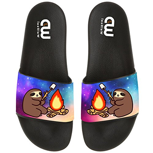 Cartoon Cute Sloth Camper BBQ Summer Slide Slippers For Men Women Outdoor Beach Sandal Shoes size 7