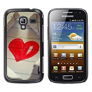 LECELL -- Funda protectora / Cubierta / Piel For Samsung Galaxy Ace 2 I8160 Ace II X S7560M -- Love Drawing Heart --
