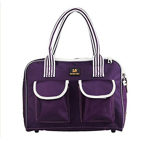 Cheap Lily's Pet Carrier Top Hand Carrier or Shoulder Travel Box Mesh Top 600D OXFORD Cloth Two Extra Pockets Fashion Front Dog Purse Tote Bag Hiking Outdoor Carrier Bag for Pet Dog Cat Medium Purple