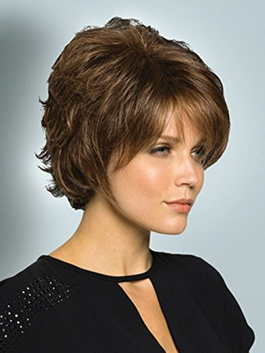Beauty : ELIM Short Hair Wigs for Women Brown Wigs Natural Looking Synthetic Heat Resistant Frizzy Wig with Wig Cap Z070BN