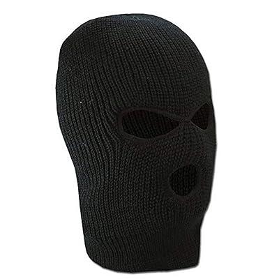 3 Hole Knit Mask Knit Caps al aire libre cubierta de la cara completa Warm Ski Head Hood sombrero cara Shield Beanie pasamontañas para hombres mujeres (negro): Ropa y accesorios