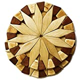 Natural Wood Trivets For Hot Dishes - 2 Eco-friendly, Sturdy and Durable 7'' Kitchen Hot Pads. Handmade Festive Design Table Decor - Perfect Kitchen Gifts Idea. Larger Image