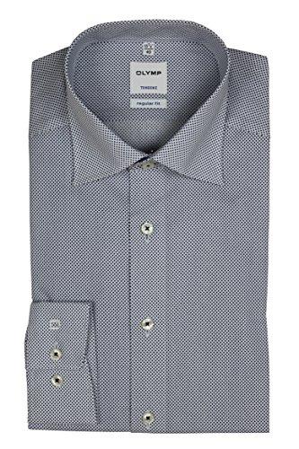 Olymp Hemd Regular Fit Langarm Weiß/Blau