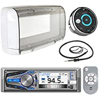 Dual Electronics LCD Marine Boat Bluetooth CD Stereo Receiver Bundle Combo W/ MWR15 Waterproof Wired Remote Control + SG3 Universal White Radio Splash guard Case + Enrock 22 Radio Antenna