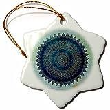 3dRose Andrea Haase Art Illustration - Blue Mandala Illustration On Turquoise Background - 3 inch Snowflake Porcelain Ornament (orn_268239_1)