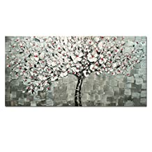 AtfArt Living Room Hall Wall Art Handmade Landscape Oil Paintings on Canvas Wall Art Silver Tree Pictures for Living Room Home Decor (No Frame£©
