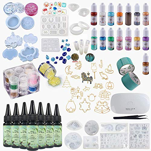 Epoxy Resin Full Kit Molds Color Pigments Glitters, 7 Crystal Clear UV Epoxy, Earrings Pendants Bracelets Jewelry Storage Box Molds, Pearlescent Pigments, Open Back Bezels, with Curing Device ()