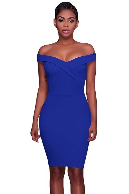Nuevo Azul Off hombro Bodycon Mini vestido de fiesta desgaste club wear Mini vestido de fiesta