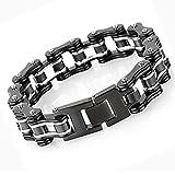 LEADCIN Stainless Steel Mens Bracelet Bike Chain Wide Motorcycle Heavy Bangle Man Jewelry