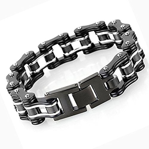 Stainless Steel Bike Chain Bracelet (JOYEN Titanium Stainless Steel Heavy Mens Bike Chain Bracelet 8.66 Inches, Black and Silver)