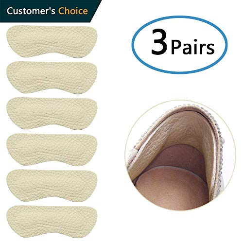 Heel Pads for Shoes That are Too Big, Heel Grips Liner for Shoe Pads for Shoes Too Big, High Heel Inserts for Women Anti Slip, High Heel Insoles,3 Pair (Beige) ()