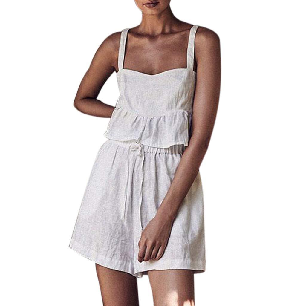 2019 Women's Sexy Summer White Loose Sling Shorts Set Split Sleeveless Two-Piece Set (White, S)