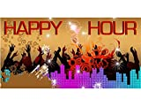 bn0416 Happy Hour Party Time Pub Beer Wine Alcohol Dance Colleague Banner Sign