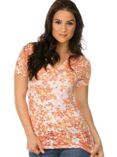 - Kavio! Women BurnOut Dainty Daisy Sublimation V Neck Short Sleeve Tangerine M