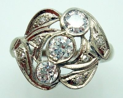 ART DECO 14K GOLD GENUINE NATURAL DIAMOND RING .65CT TOTAL (#2863)