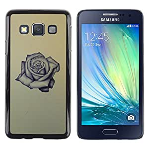 Be Good Phone Accessory // Dura Cáscara cubierta Protectora Caso Carcasa Funda de Protección para Samsung Galaxy A3 SM-A300 // rose tattoo ink rock roll love yellow