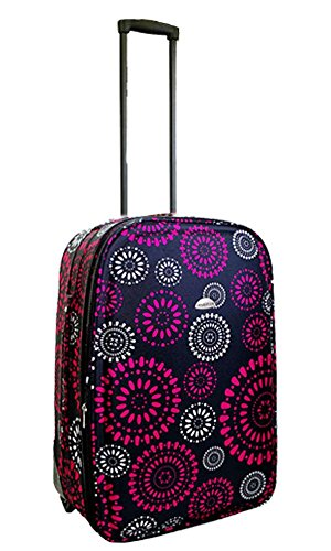 "Lightweight Expandable Hot Pink Flower Trolley Suitcase (23"" Hot Pink Flower)"