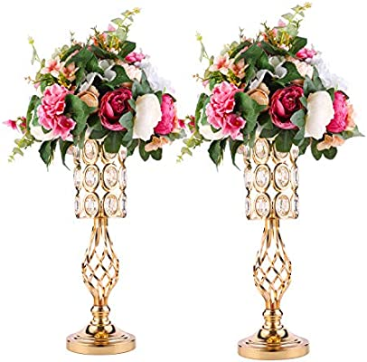 2pcs Metal Wedding Flower Trumpet Vase With Crystal Bead Table Decorative Centerpiece Height Artificial Flower Arrangements For Wedding Party Birthday Event Aisle Home Decoration Gold Diamond 2xs Amazon Sg Home