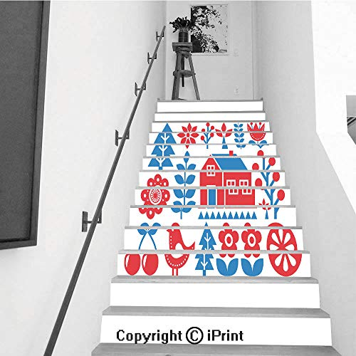- Stair Stickers Wall Stickers,13 PCS Self-Adhesive,Stair Riser Decal for Living Room, Hall, Kids Room,Finnish Inspired Folk Art Pattern Scandinavian Nordic Style
