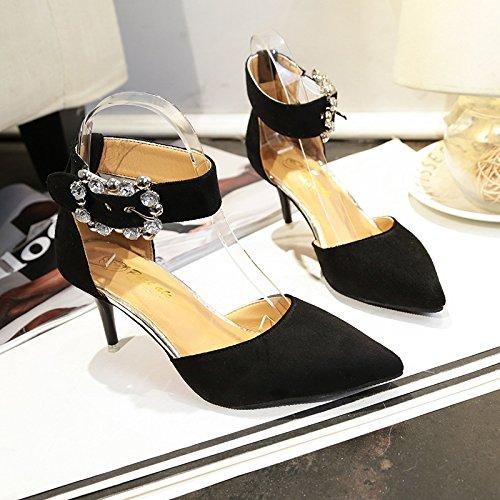 Dames Simples Noirs 34 De Et lgants Pointe Fine Souliers Boucle 46nA5qxwEE