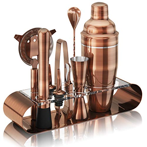 The Complete Bartender Kit | 11 Piece Cocktail Shaker Set with Stand | Great To Make Martini, Margarita, Mojito or Any Other Alcohol or Liquor Drink | Impressive Set For Special Gift! (Antique Copper)
