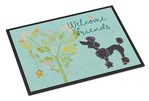 Caroline's Treasures Welcome Friends Black Poodle Doormat 18hx27w Multicolor