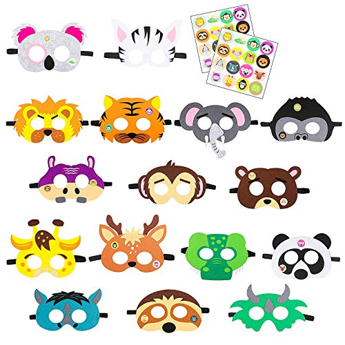 Forest-Friends Animals Felt Masks 16 pcs Woodland Creatures Animal Cosplay Zoo Camping Themed Party Favors Supplies with Cute Animal Stickers for Kids Boys or Girls by BeYumi -
