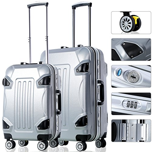 2 Piece Travel Luggage Set Travel Luggage Bag With TSA Lock Spinner Hard Shell Lightweight Suitcase Luggage Travel Bag (Grey) by PrettyQueen