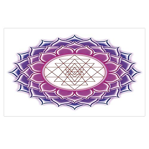 iPrint 3D Floor/Wall Sticker Removable,Lotus,Sacred Geometry Yantra Mandala with Triangle Figures Spiritual Yoga Illustration,Fuchsia Purple,for Living Room Bathroom Decoration,35.4x23.6