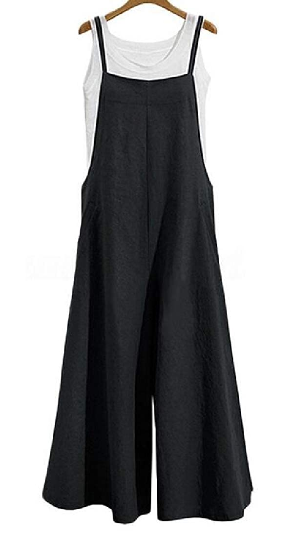 KLJR Women Jumpsuit Romper Casual Plus Size Cotton Linen Loose Wide Leg Palazzo Lounge Pants Overalls