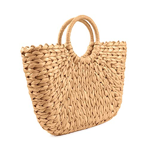SUKUTU Womens Natural Chic Hand Woven Tote Bags (Large)