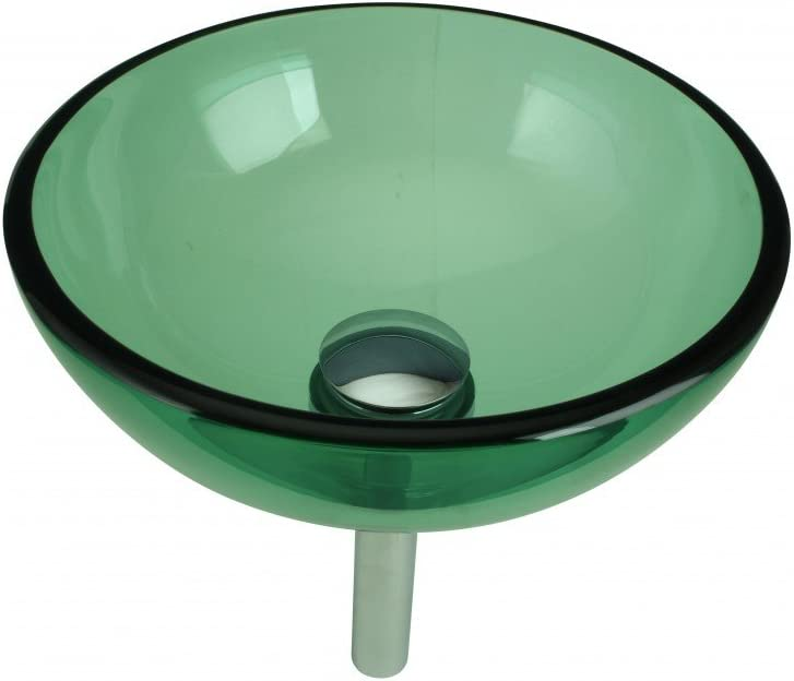 Tempered Glass Vessel Sink With Drain, Green Mini Glass Round Bowl Sink