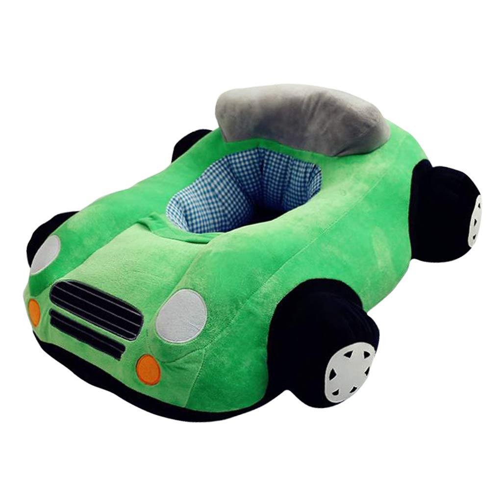 Fityle Cute Car Children Reading Seating Sofa Cover Kids Mini Chair Baby Bedroom Playroom Stuffed Toy Bean Bag - Green by Fityle