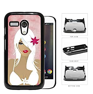 Pretty Girl With White Hair In Bathing Suit Hard Plastic Snap On Cell Phone Case Motorola Moto G