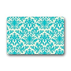 Afagahahs Teal Turquoise Classic Damask Pattern Vintage French Floral Swirls Rug Front Door Mats 18x30 Inch