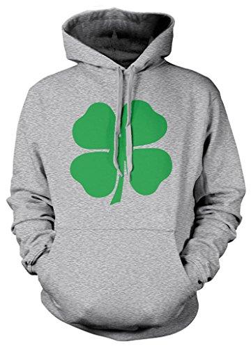 Clover Hoodie (Cybertela Green Four Leaf Clover Sweatshirt Hoodie Hoody (Light Gray,)