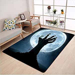 Kisscase Custom carpet Halloween Decorations Zombie Hand Earth Soil Full Moon Bat Horror Story October Decor Twilight Themed Decor Blue Black