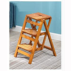 Amazon.com: RMJAI Escalera de madera maciza multifunción ...