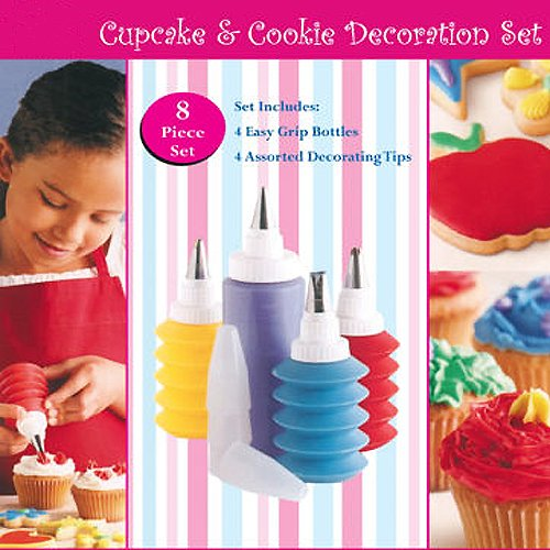 CostMad TM 8 Piece Baking Cupcake Birthday Wedding Party Kids Cake Cookie Cake Decorating Multi Coloured Frosting Icing Desert Gift Set