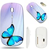 MSD Wireless Mouse White Base Travel 2.4G Wireless Mice with USB Receiver, Noiseless and Silent Click with 1000 DPI for Notebook, pc, Laptop, Computer, mac Book Design 34740770 Blue Butterfly on Blue