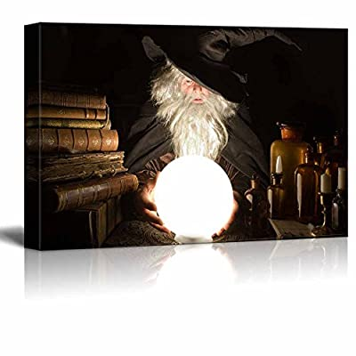 Canvas Prints Wall Art - Fortune Teller Looking into The Future at Halloween | Modern Wall Decor/Home Decoration Stretched Gallery Canvas Wrap Giclee Print. Ready to Hang - 12