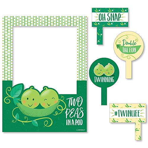 Big Dot of Happiness Double The Fun - Twins Two Peas in a Pod - Baby Shower or First Birthday Party Selfie Photo Booth Picture Frame & Props - Printed on Sturdy Material