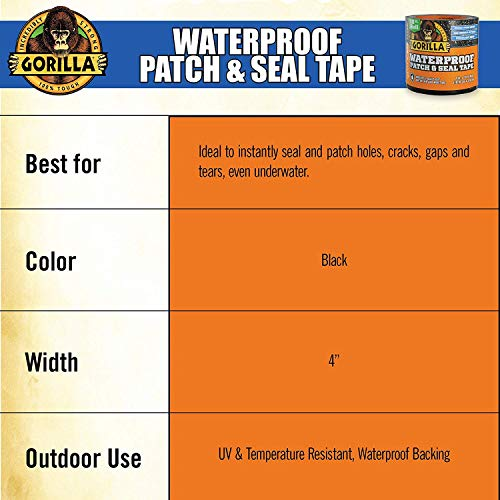 Gorilla 4612502 Waterproof Patch & Seal Tape 4'' x 10' Black, Pack 4 by Gorilla (Image #6)