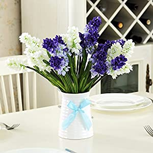 Situmi Artificial Fake Flowers Gift White Porcelain Vases Decorated Blue Hyacinths Home Accessories 68